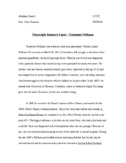 PLAYWRIGHT ESSAY