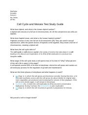 Study Guide Cell Cyle & Mitosis