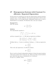 Homogeneous Systems with Constant Coefficients Repeated Eigenvalues