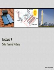 Lecture 07 - Solar Thermal Systems