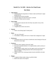 Final Exam Review Sheet