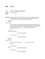 Bus 402 - Small Business Management Quiz 1