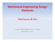 Lecture 4 - Tolerances and Fits - Sept 19, 2014