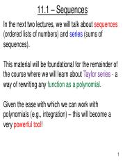 Lecture 22 - Sequences