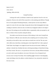 diagnostic essay empathy for iers in saving private ryan other related materials