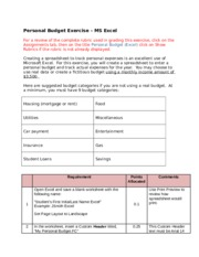 personal budget exercise excel Creating a spreadsheet to track personal expenses is an excellent use of microsoft excel for this exercise, you will create a spreadsheet to enter a personal budget and track actual expenses for the year.