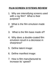 RADD 2501 Film Screen Systems - Review Questions