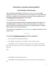 Housekeeping Worksheet