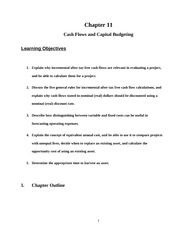 Lecture 11 on Cash Flows and Capital Budgeting
