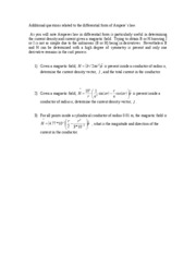 Additional questions related to the differential form of Ampere
