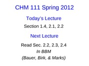 Lecture 4 CHM111 Student Slides