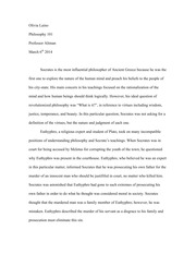 Essay on Socrates and Euthyphro