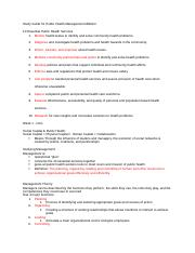 Study Guide for Public Health Management Midterm