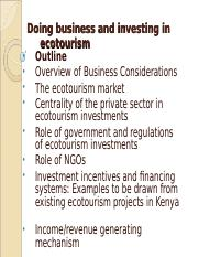 Doing business and investing in Ecotourism_Topic_8