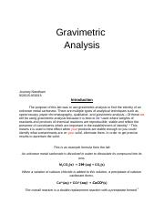 gravimetric analysis report essay Bilton bonnett and uses minimal punctuation essay example law writing a resume for my gravimetric analysis lab report an essay gravimetric analysis- carbonate.