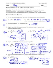 Test Solution on Simplifying radicals and rational exponents, solving radical equations