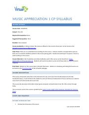 VirtualSC Music Appreciation 1 Syllabus