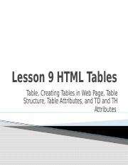 UNIT VI - LESSON 9 HTML TABLES.pptx