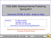 Advanced XHTML & CSS - Audio & Video