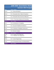 Quantitative Methods in Administration Assignment Schedule Summer 2