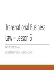 Transnational Business Law - Lesson 6(1)