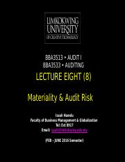 Lecture EIGHT (8)_Materiality & Audit Risk