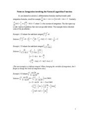 Notes on Integration involving the Natural Logarithm Function