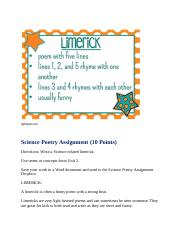 Science Poetry Assignment(Limerick)