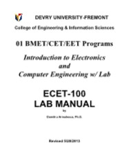 ECET-100, LAB MANUAL-Cover & Table of Contents
