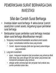 Ppt Bab 11 Pemeriksaan Surat Berharga Dan Investasi Sifat