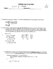 CPSC 305 2001 Test 1 Solutions