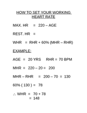 HOW TO SET YOUR WORKING HEART RATE