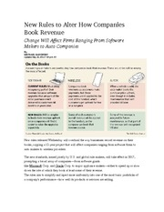 New Rules to Alter How Companies Book Revenue