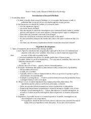 Study Guide 1 - Research Methods