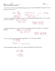 Molarity and Solution Percent - Key