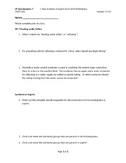 OP Questionnaire  7 - Experiment 4, Synthesis of Salicylic Acid