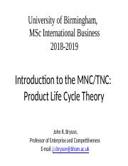 Week 4 MNC and Product Life Cycle Theory - 2018-19.pptx