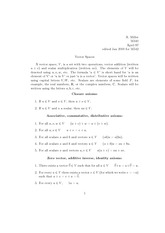Math 541, 542 Vector Spaces Notes