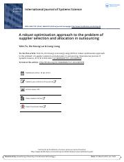 A robust optimisation approach to the problem of supplier selection and allocation in outsourcing.pd