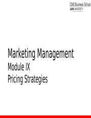 Module 9 - Pricing Strategies