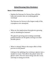 Global Warming Video Worksheet