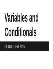 3 - Variables and Conditionals
