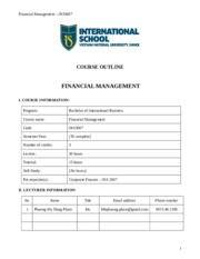 Financial Management - INS3007