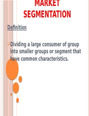 Market segmentation SALES