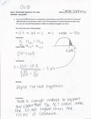 Chapter 10 Quiz Two Sample Hypothesis Testing