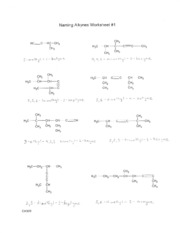 Alkynes Problem Set