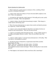 Review questions for cardiovascular physiology