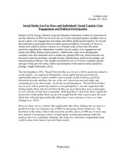 Summary Social Media Use For News and Individuals' Social Capital, Civic Engagement and Political Pa
