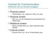 Contexts for Communication-1