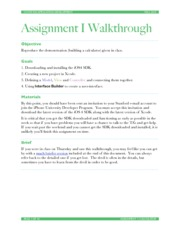 Assignment 1 Walkthrough